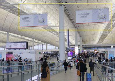 香港机场出发区吊旗海报广告