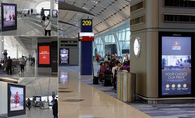 香港机场出发登机闸口数码电子屏广告
