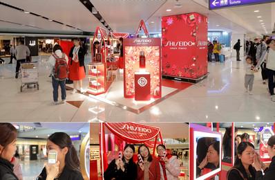 香港机场出发免税区品牌展位+图腾电子屏广告