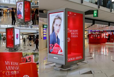 香港机场出发免税区数码互动展位广告